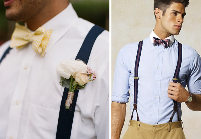 Groom wearing suspenders