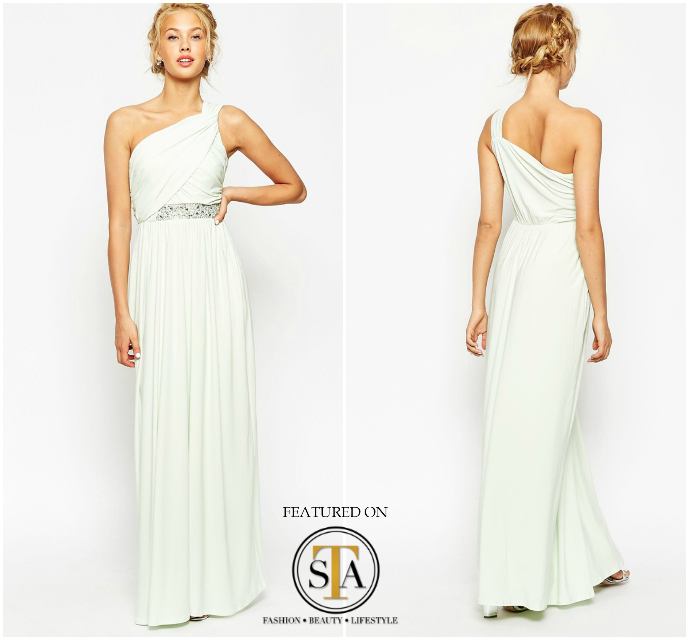 One shoulder maxi style dress that will have your bridesmaids looking like a grecian goddess