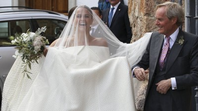 Lady Charlotte Wellesley's Custom Off-the-Shoulder Emilia Wickstead Wedding Gown